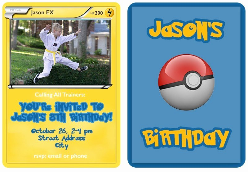 Pokemon Birthday Invitations Template Best Of Pokemon Trading Card Invitation Templates