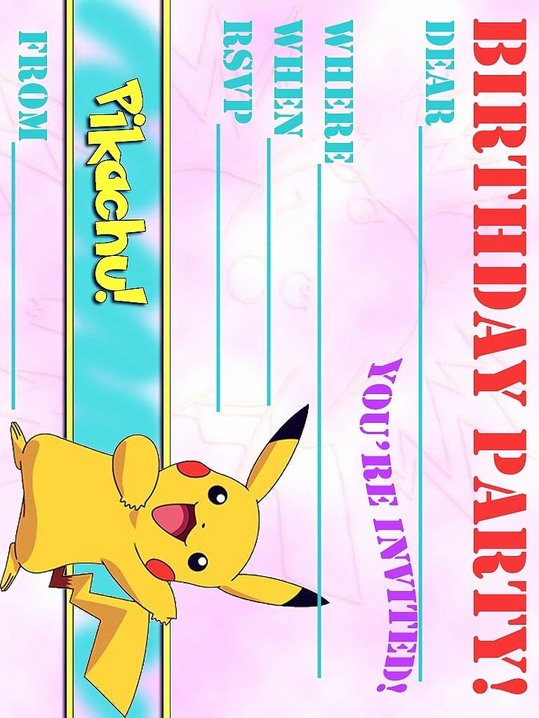 Pokemon Birthday Invitations Template Elegant Pokemon Birthday Invitation