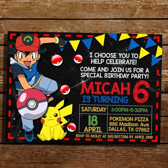 Pokemon Birthday Invitations Template Elegant Pokemon Party Invitations Ideas Party Xyz