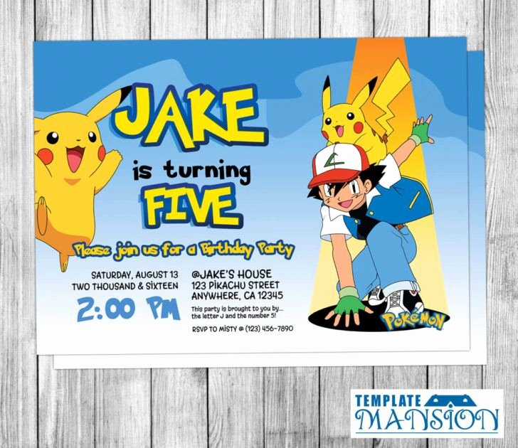 Pokemon Birthday Invitations Template Inspirational Birthday Pokemon themed Birthday Party Invitation