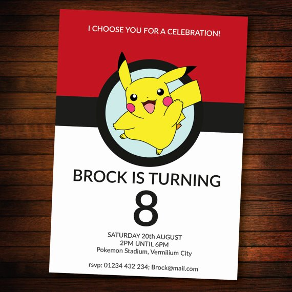 Pokemon Birthday Invitations Template Inspirational Personalised Pokemon Invite Self Editable Pdf 5 X 7 Inch