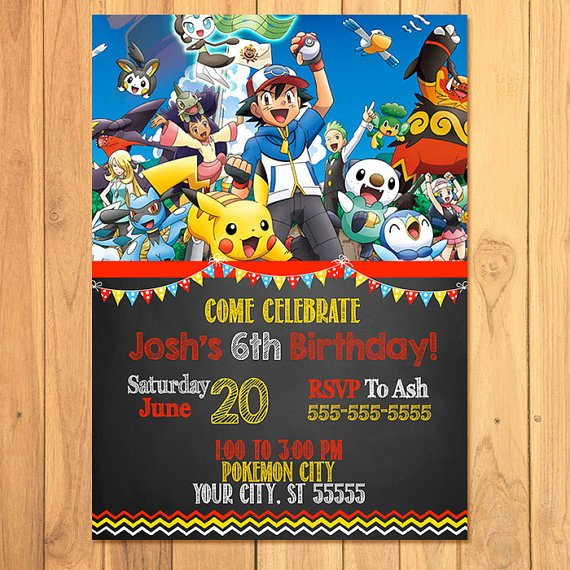 Pokemon Birthday Invitations Template Inspirational Pokemon Invitation Chalkboard Pokemon Birthday Pokemon