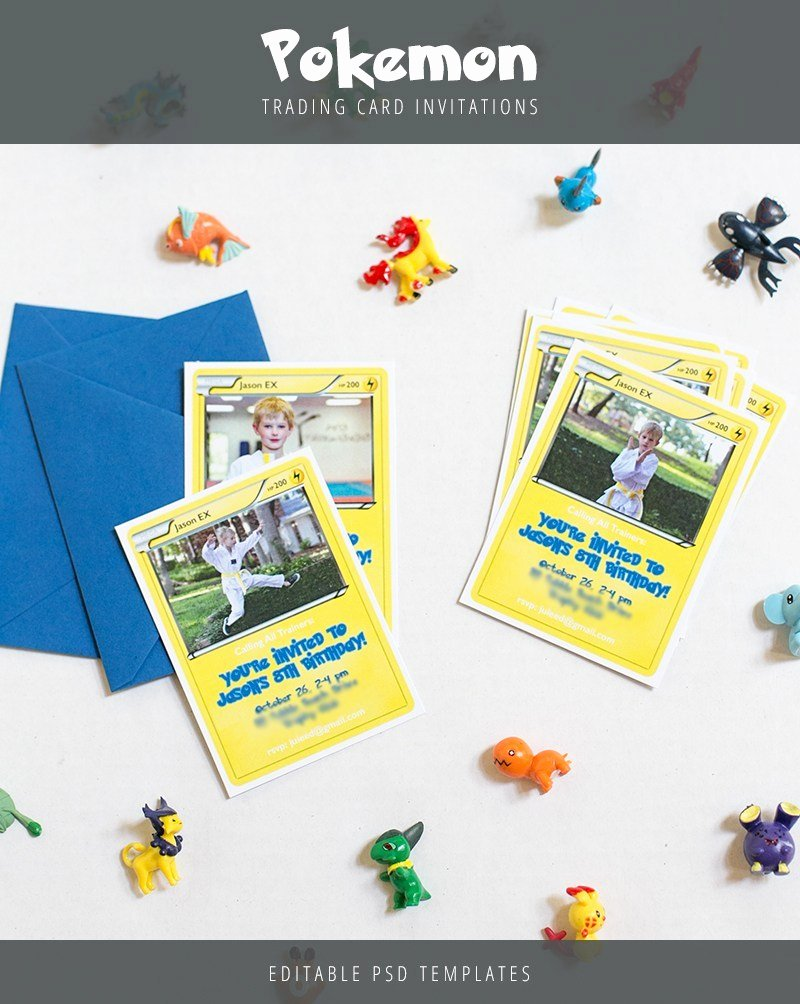 Pokemon Birthday Invitations Template Lovely Pokemon Trading Card Invitation Templates