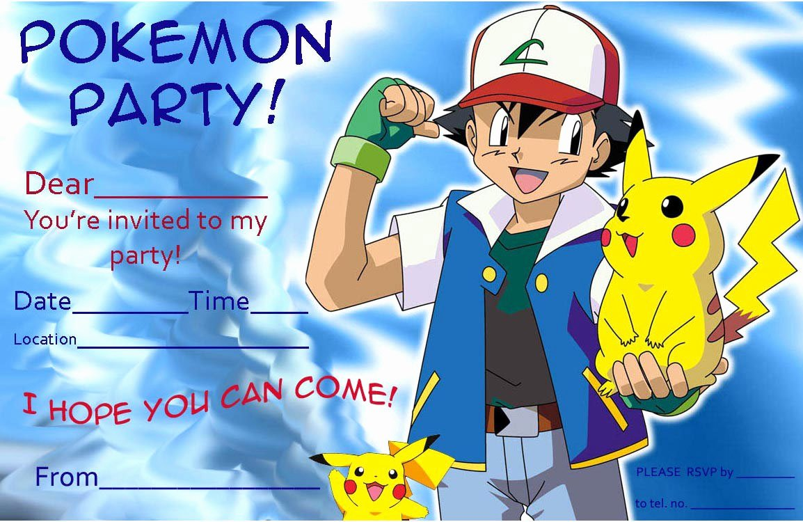 Pokemon Birthday Invitations Template Luxury Free Pokemon Pikachu Birthday Invitation Template