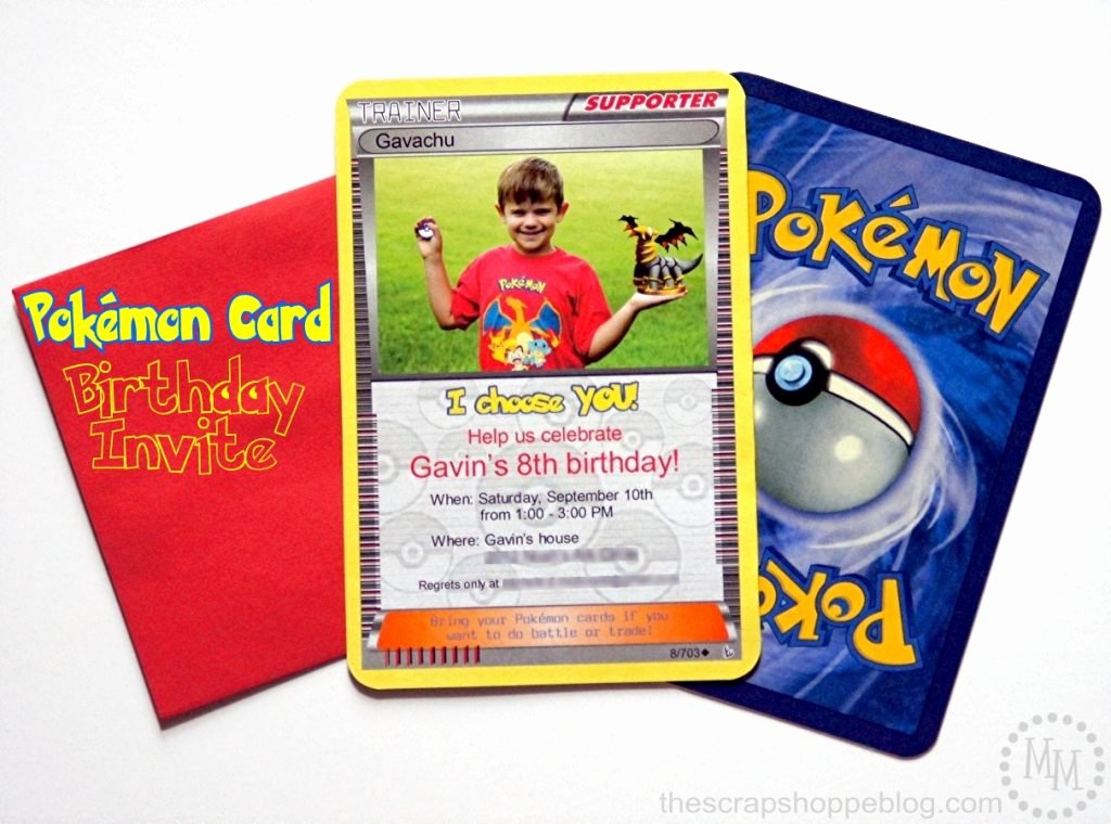 Pokemon Birthday Invitations Template Luxury Pokémon Card Birthday Invitation the Scrap Shoppe