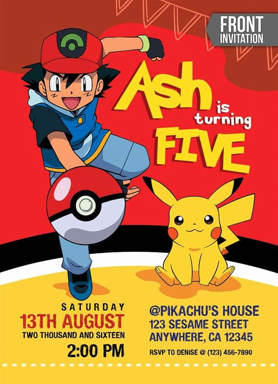 Pokemon Birthday Invitations Template Luxury Pokemon Invitation Pokemon Birthday Invitation Pokemon