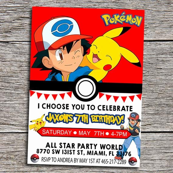Pokemon Birthday Invitations Template New Pokemon Birthday Party Invitation Digital by Dottydigitalparty
