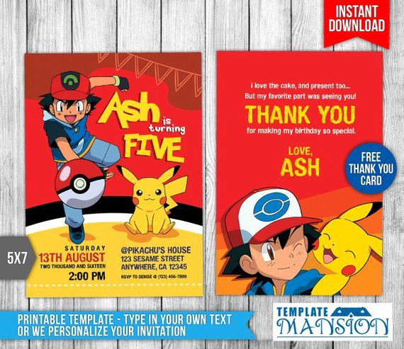 pokemon invitation pokemon birthday