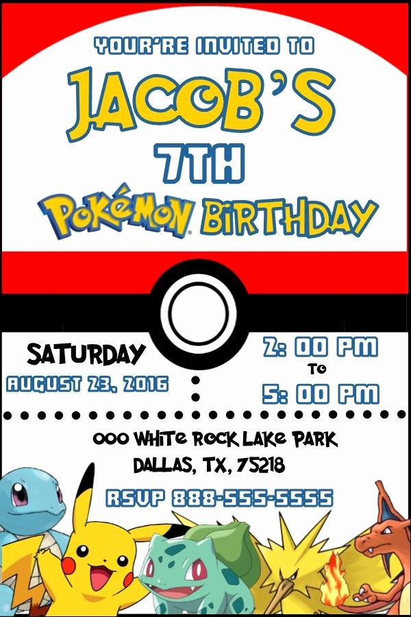 Pokemon Birthday Invitations Template New Pokemon Pokeball Birthday Invitation Invitacion De