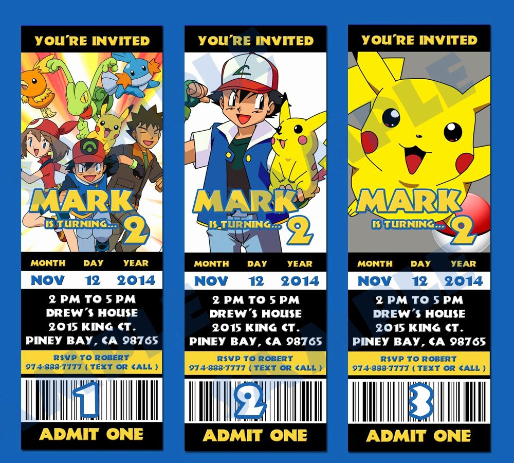 Pokemon Birthday Invitations Template New Printable Pokemon Birthday Party Ticket Pokemon by Peekaowl