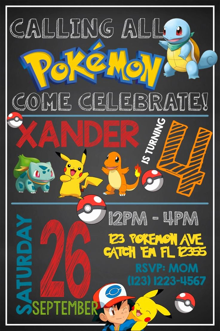 Pokemon Birthday Invitations Template Unique Birthday Invitation Templates Pokemon Birthday Invitations