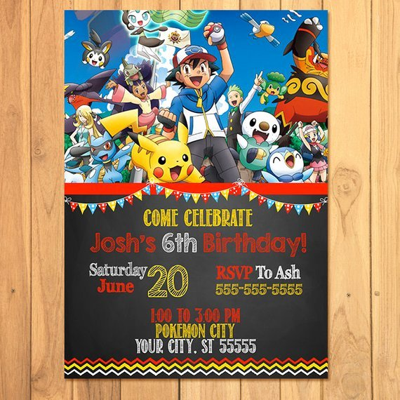 Pokemon Invitation Template Free Awesome Pokemon Invitation Chalkboard Pokemon Birthday Pokemon
