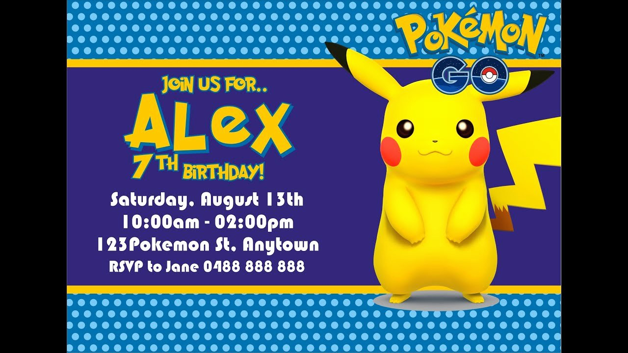 Pokemon Invitation Template Free Beautiful How to Make Pokemon Go Birthday Invitation In Coreldraw