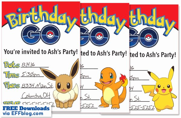 Pokemon Invitation Template Free Best Of Pokémon Go Birthday Go Free Printable Invitations