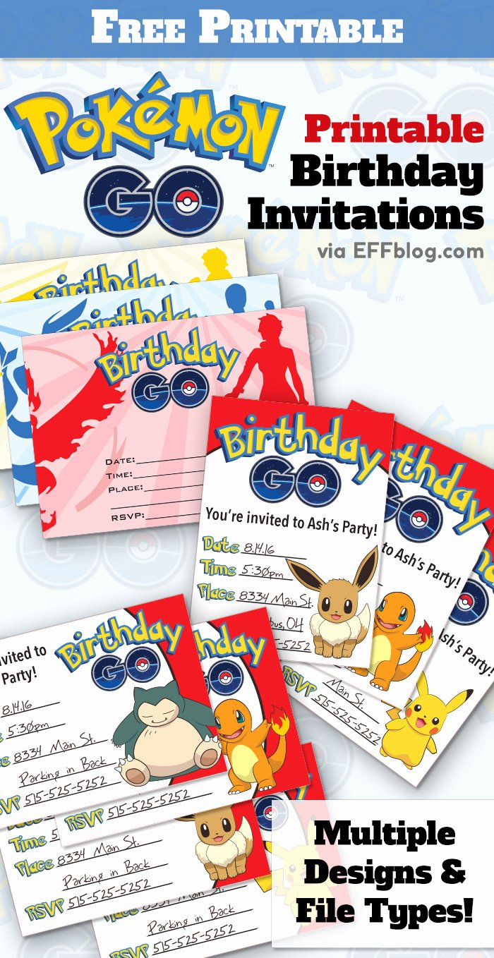 Pokemon Invitation Template Free Elegant Pokémon Go Birthday Go Free Printable Invitations