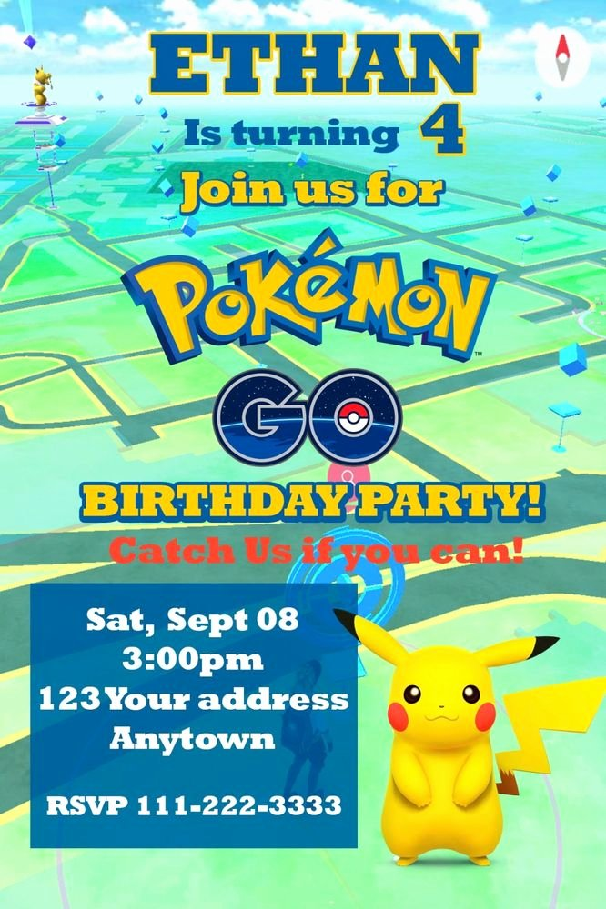 Pokemon Invitation Template Free Luxury Pokemon Go Pikachu Birthday Party Invitations Personalized