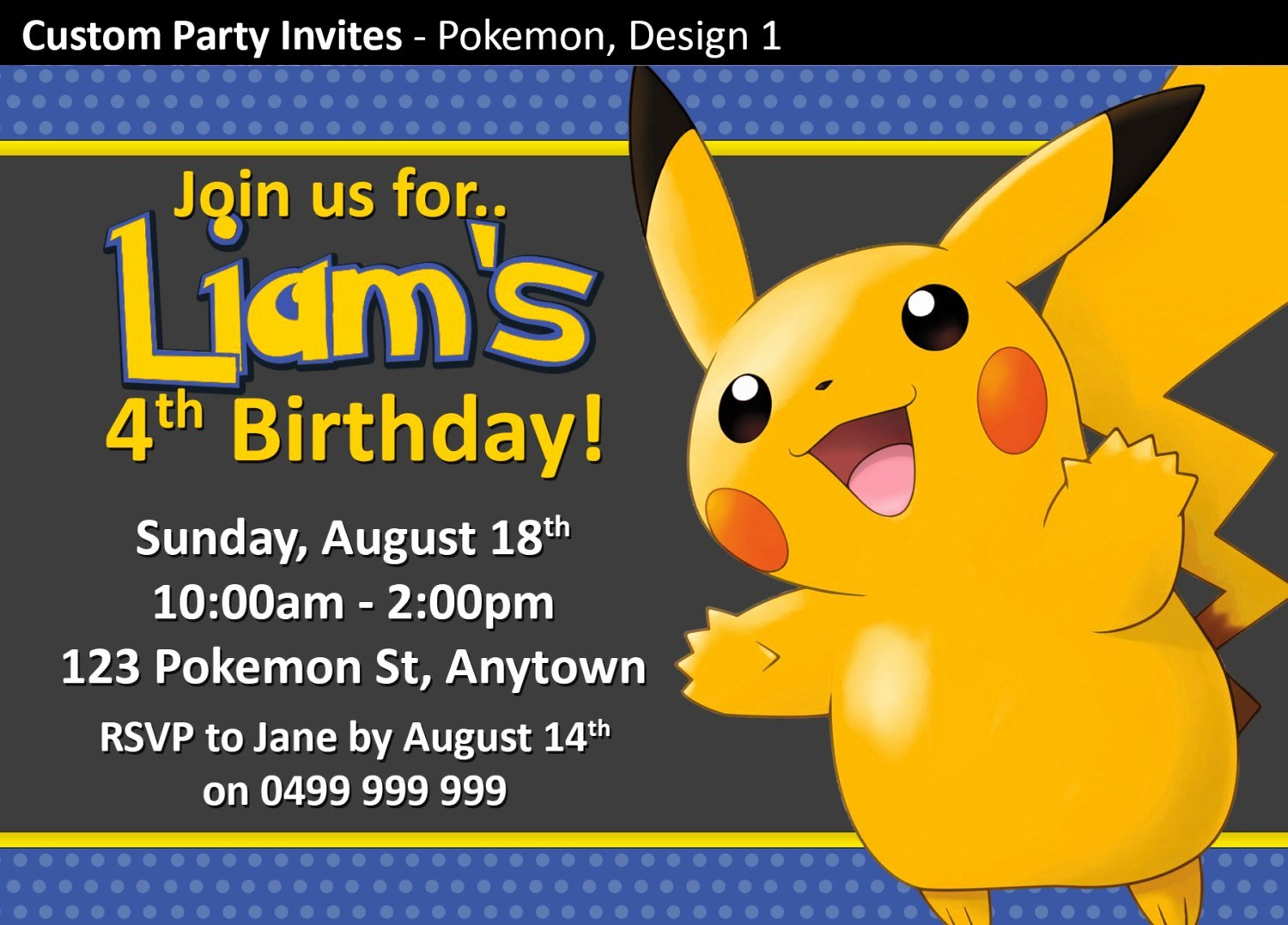 Pokemon Invitation Template Free New Pokemon Birthday Party Invitations Invites by