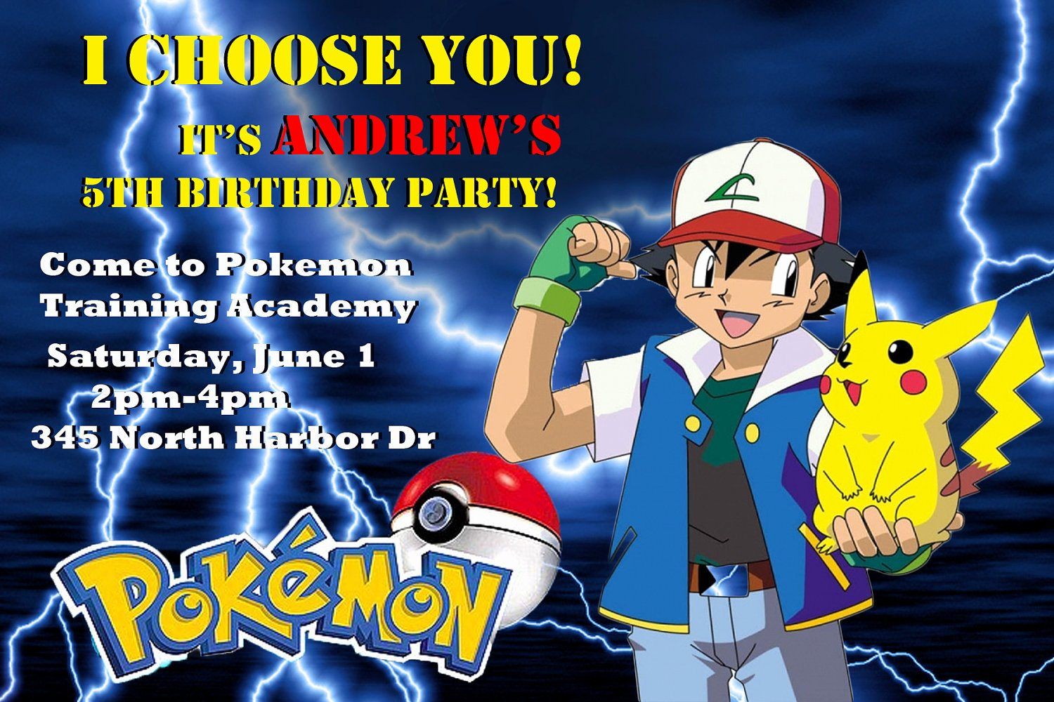 Pokemon Invitation Template Free New Pokemon Customized Printable Birthday Party Invitation
