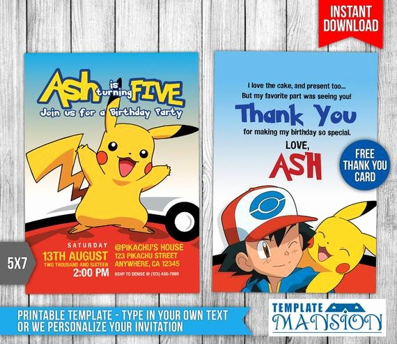 Pokemon Invitation Template Free Unique Pokemon Invitation Pokemon Birthday Invitation by