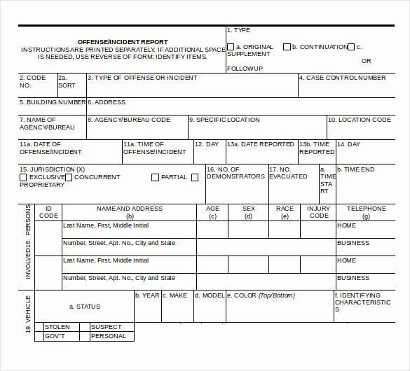 Police Incident Report Template Awesome Sample Police Report Template 10 Free Word Pdf