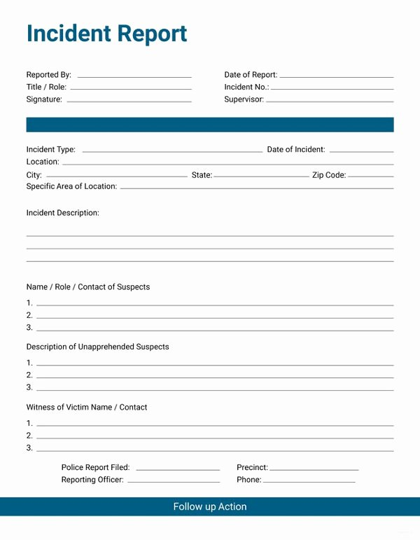 Police Incident Report Template Elegant 35 Incident Report Templates