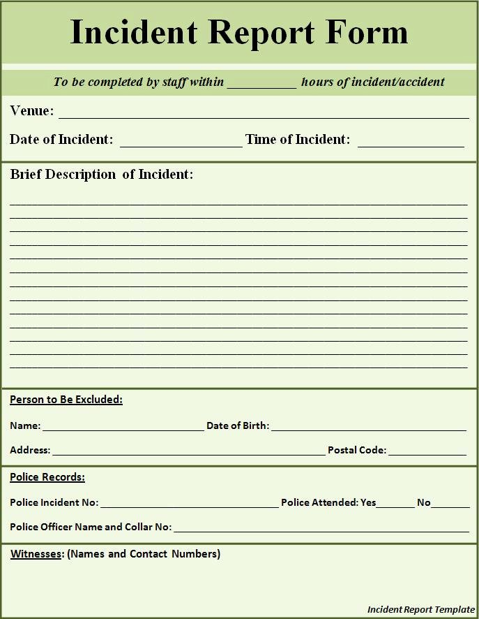 Police Incident Report Template Fresh Free Printable Police Report Template form Generic