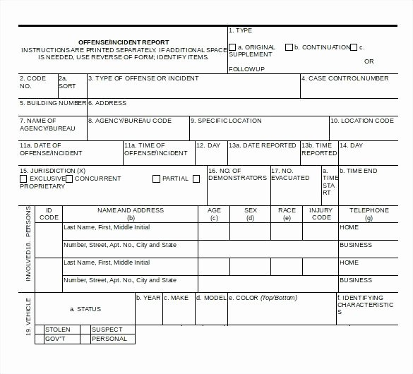 Police Incident Report Template Inspirational Free Incident Report Template Word – Rightarrow Template