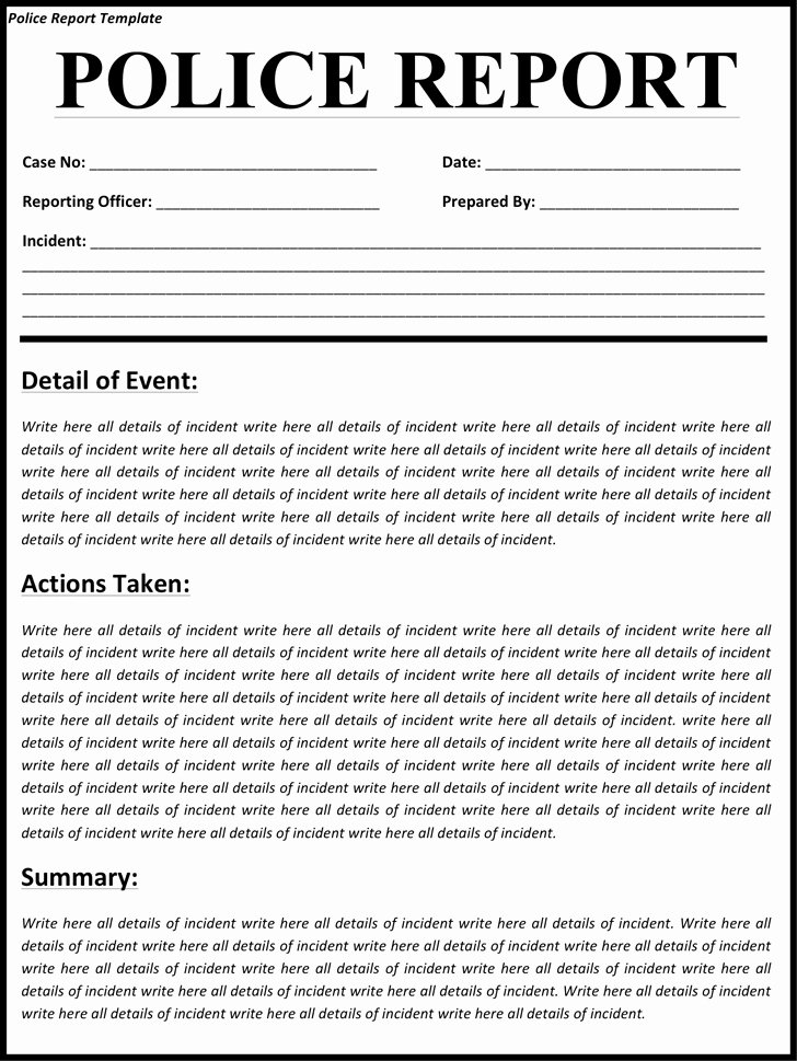 Police Incident Report Template New Police Report Template