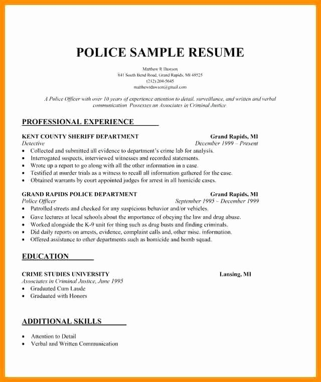 Police Officer Resume Template Best Of Law Enforcement Resumes Talktomartyb