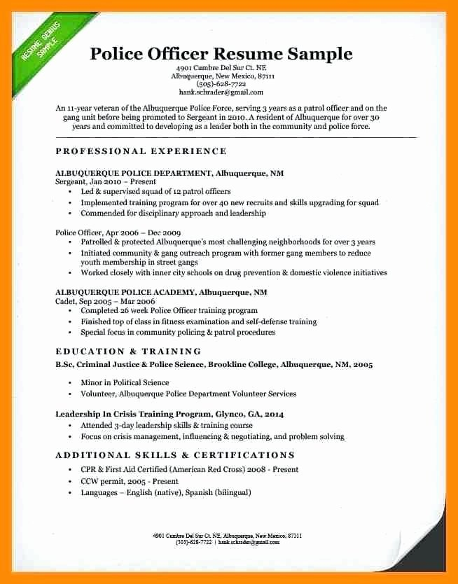Police Officer Resume Template Best Of Police Ficer Resume Templates