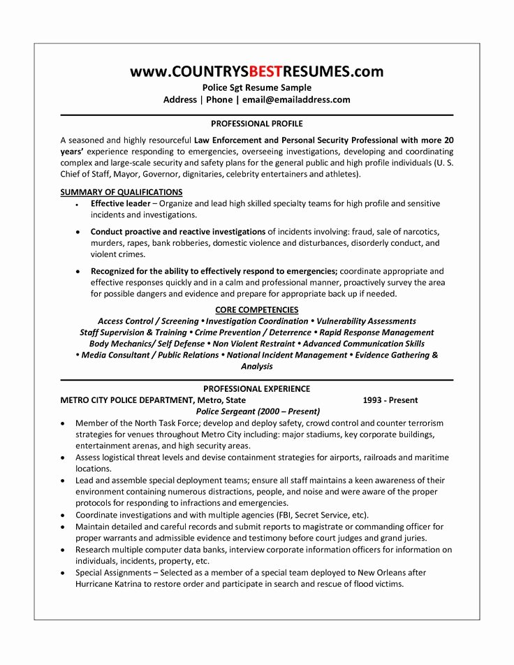 Police Officer Resume Template Fresh Best 25 Police Officer Resume Ideas On Pinterest