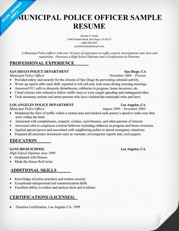 Police Officer Resume Template Fresh Police Officer Resume