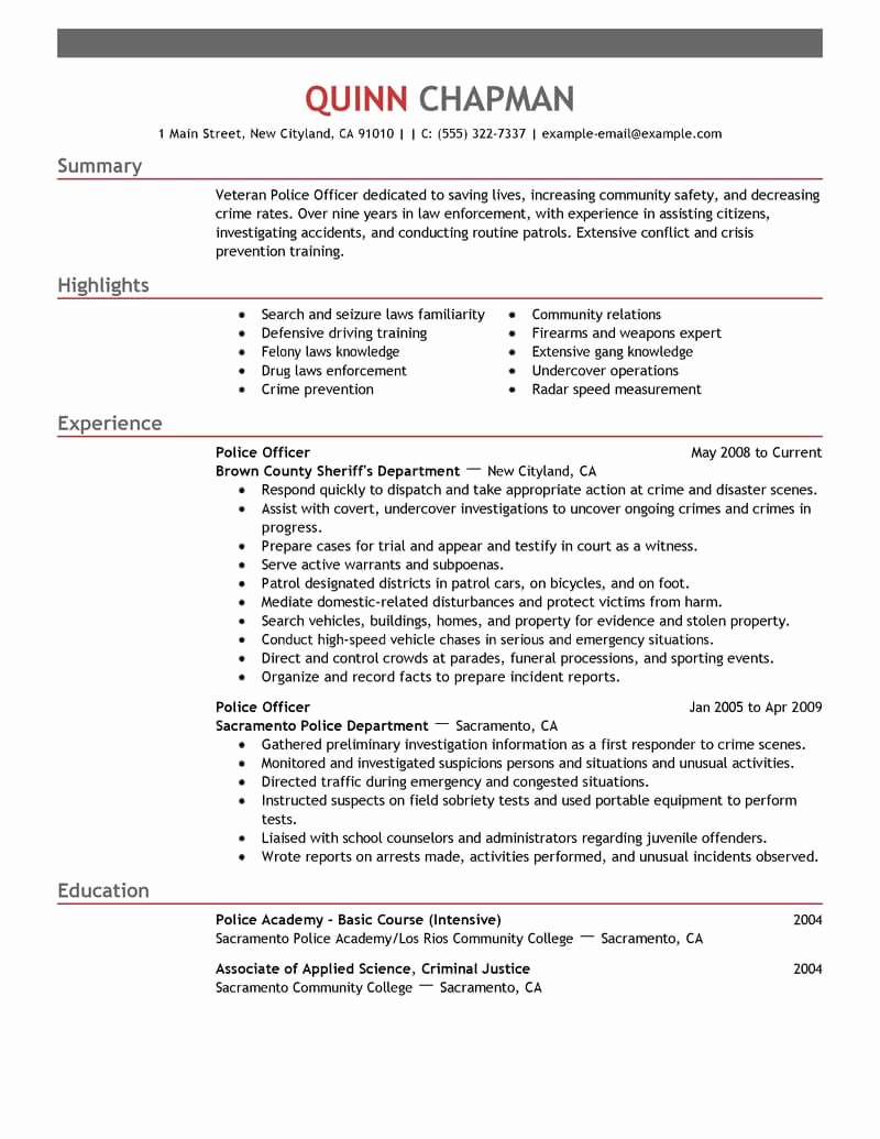 Police Officer Resume Template Inspirational Best Police Ficer Resume Example