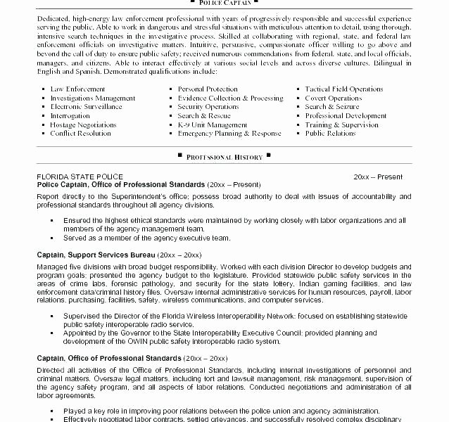 Police Officer Resume Template Inspirational Police Ficer Resume Templates
