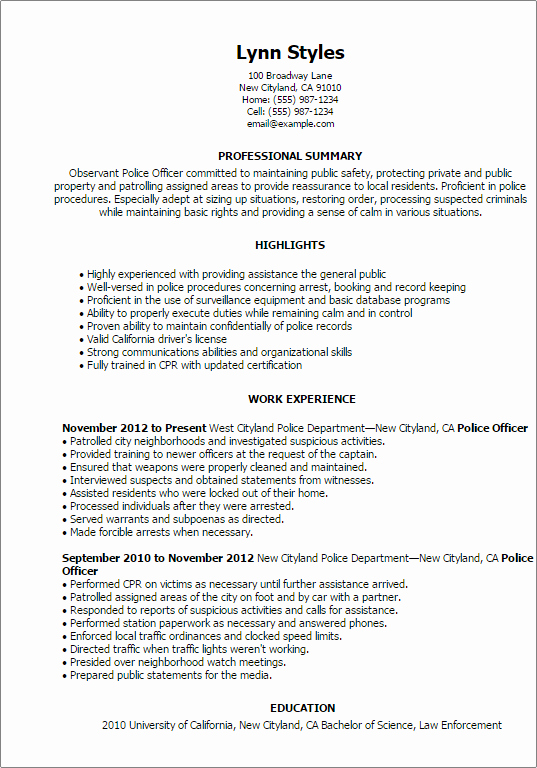 Police Officer Resume Template Lovely Professional Police Ficer Templates to Showcase Your
