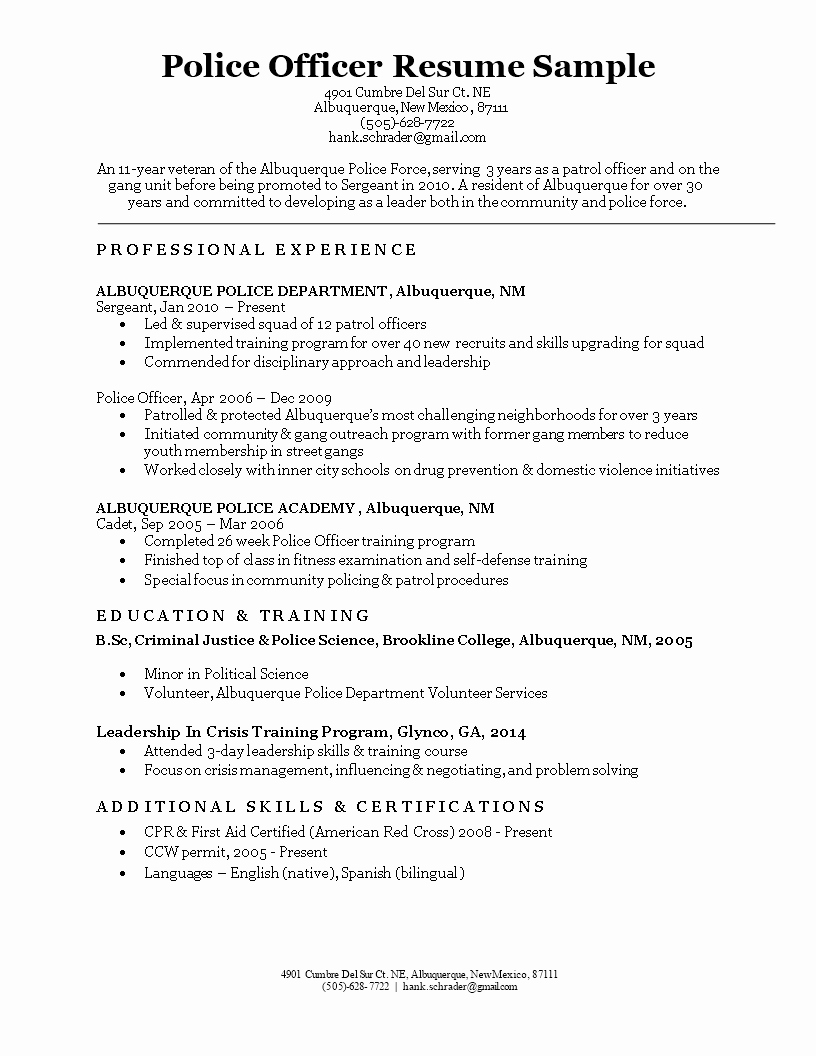 Police Officer Resume Template Luxury Free Police Ficer Resume Sample