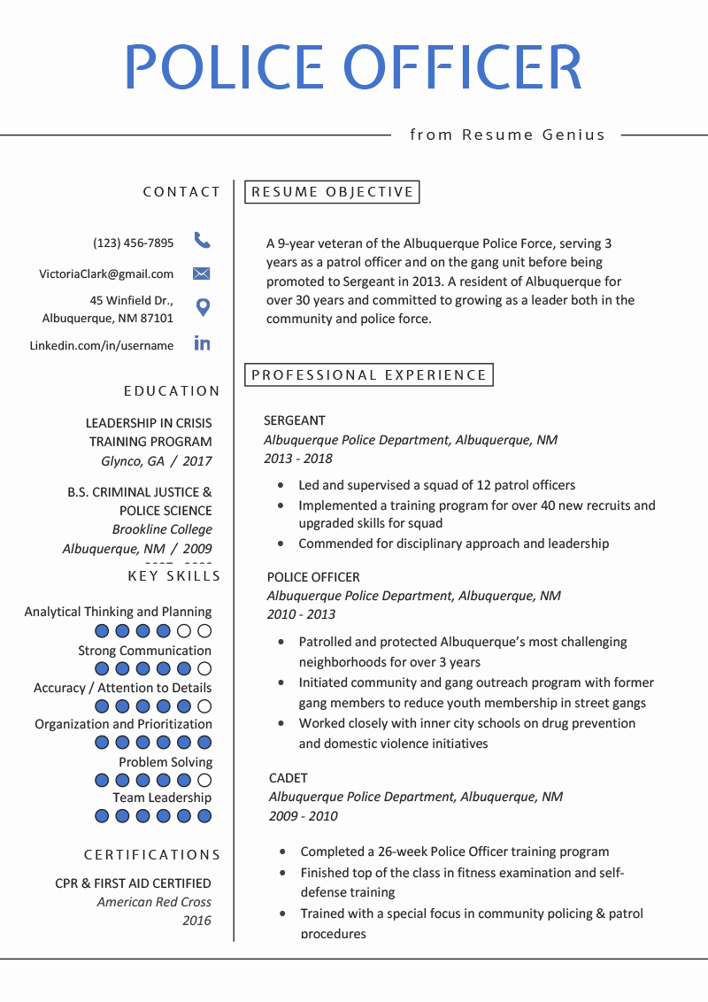 Police Officer Resume Template New Police Ficer Resume Example & Writing Tips