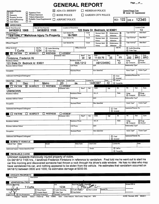 Police Report Template Pdf Best Of How Ada County Sheriff S Fice Automated Departmental