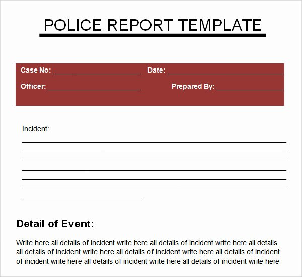 Police Report Template Pdf Best Of Police Report Templates 6 Download Free Documents In