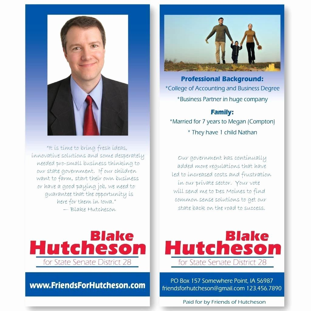 """Political Palm Card Template Inspirational 3 5"""" X 8 5"""" Palm Cards Custom Printed Pamphlets"""