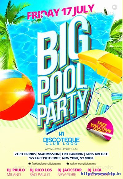 Pool Party Flyer Template Awesome 50 Best Summer Pool Party Flyer Print Templates 2017