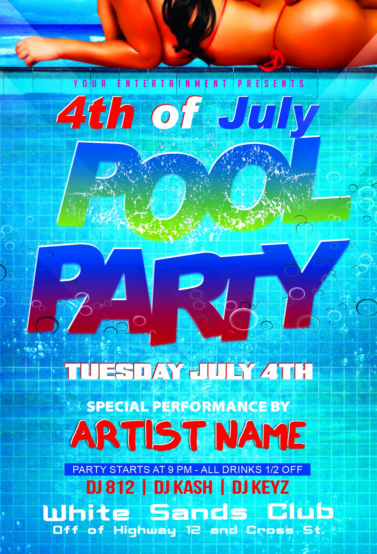 Pool Party Flyer Template Beautiful 4th Of July Pool Party Flyer Template