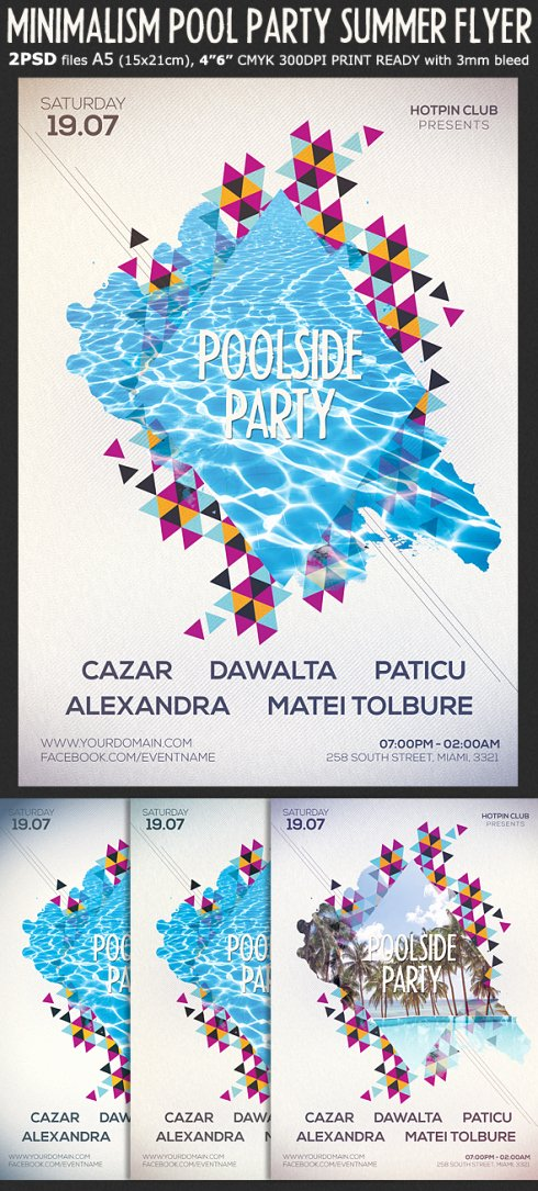 Pool Party Flyer Template Beautiful Minimalism Summer Party Flyer Template