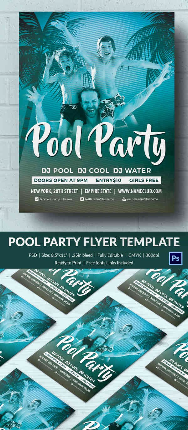 Pool Party Flyer Template Fresh Pool Party Invitation Template 37 Free Psd format