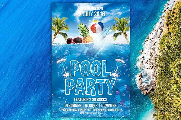 Pool Party Flyer Template Inspirational 25 Pool Party Flyer Templates Free & Premium Download