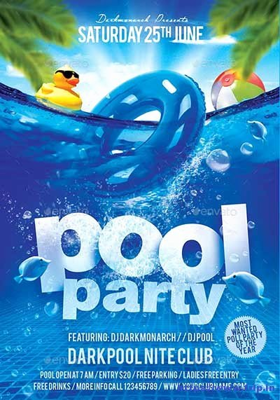 Pool Party Flyer Template Lovely 50 Best Summer Pool Party Flyer Print Templates 2017