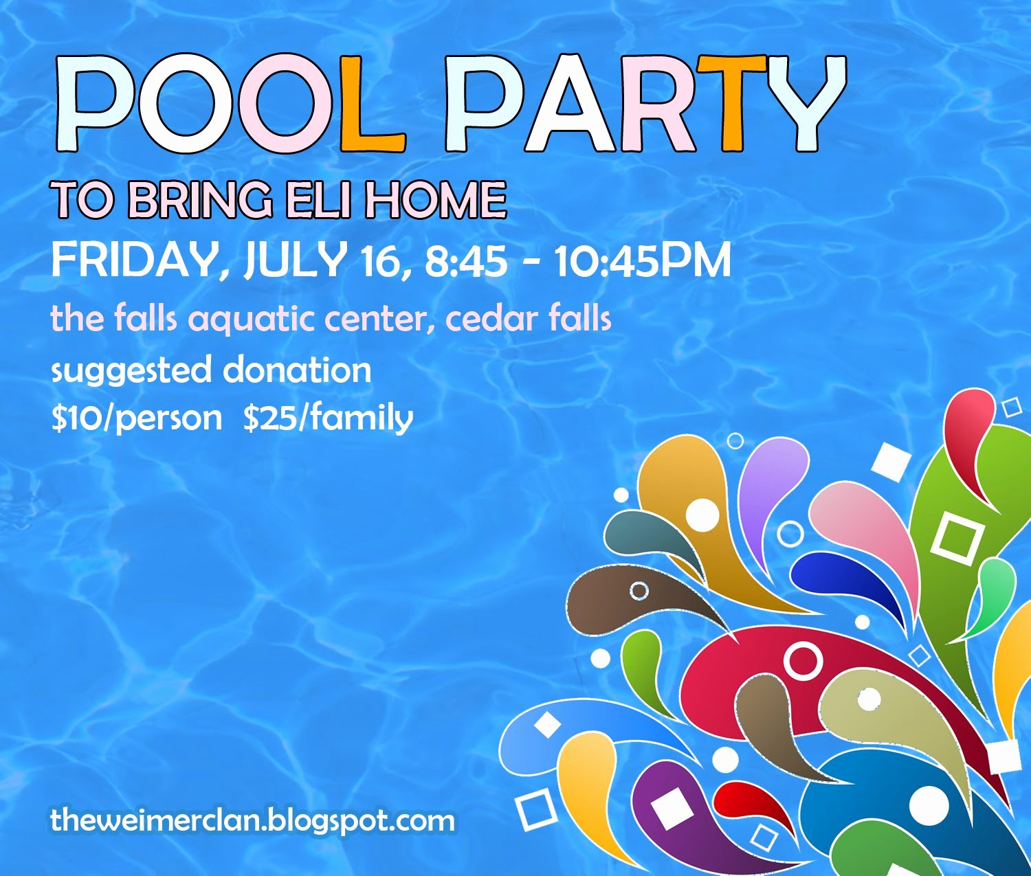 Pool Party Flyer Template Lovely Bring Home Eli Save the Date Pool Party