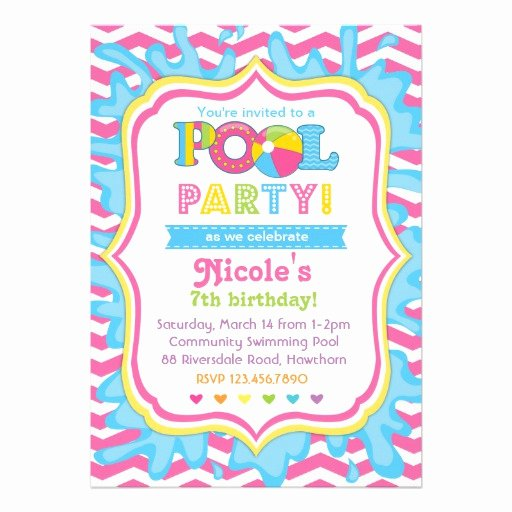 """Pool Party Invitation Template Awesome Pool Party Invitation 5"""" X 7"""" Invitation Card"""