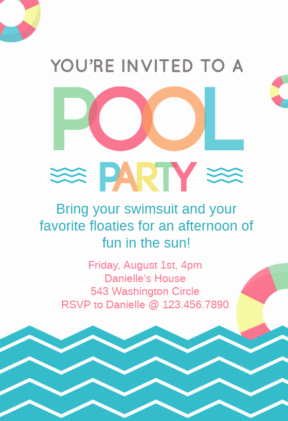 Pool Party Invitation Template Fresh Fun afternoon Pool Party Invitation Template Free