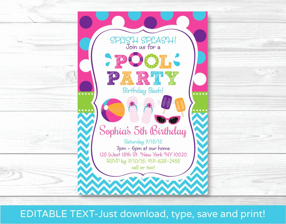 Pool Party Invitation Template Fresh Girls Pool Party Printable Birthday Invitation Editable